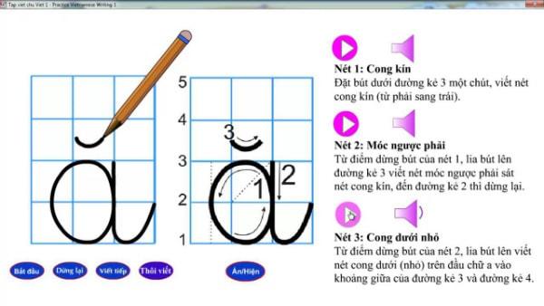 Bé chỉ có thể viết được chữ đẹp khi viết được chuẩn từng nét chữ theo đúng quy tắc