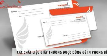 Các chất liệu giấy thường được dùng để in phong bì